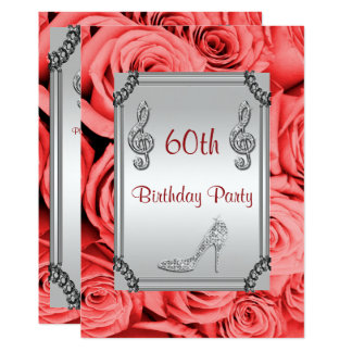 Diamond Music Note, Stiletto & Red Roses 60th Card