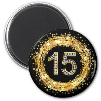 Diamond Number 15 Glitter Bling Confetti | gold 2 Inch Round Magnet