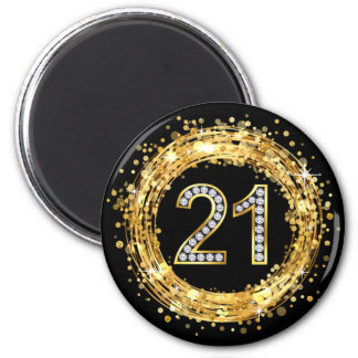 Diamond Number 21 Glitter Bling Confetti | gold Magnet