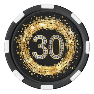 Diamond Number 30 Glitter Bling Confetti | gold Poker Chips