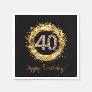 Diamond Number 40 Glitter Bling Confetti   gold Napkin