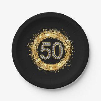 Diamond Number 50 Glitter Bling Confetti | gold Paper Plate