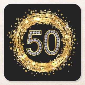 Diamond Number 50 Glitter Bling Confetti   gold Square Paper Coaster