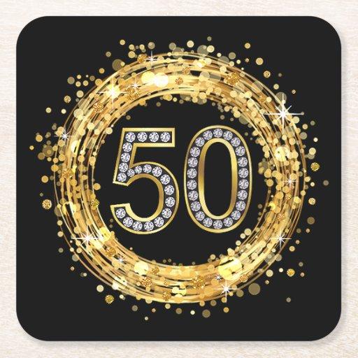 Diamond Number 50 Glitter Bling Confetti | gold Square Paper Coaster ...