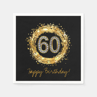 Diamond Number 60 Glitter Bling Confetti   gold Napkin