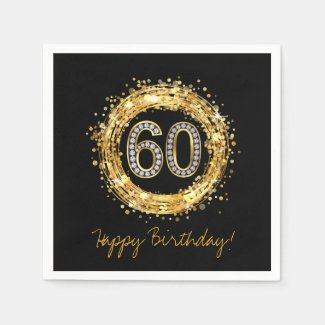 Diamond Number 60 Glitter Bling Confetti | gold Napkin
