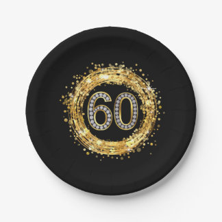 Diamond Number 60 Glitter Bling Confetti | gold Paper Plate