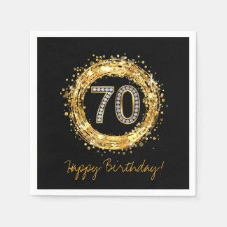Diamond Number 70 Glitter Bling Confetti   gold Paper Napkin