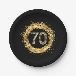 Diamond Number 70 Glitter Bling Confetti | gold Paper Plate