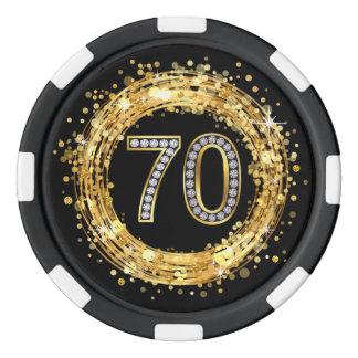 Diamond Number 70 Glitter Bling Confetti   gold Poker Chips