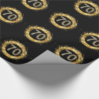 Diamond Number 70 Glitter Bling Confetti | gold Wrapping Paper