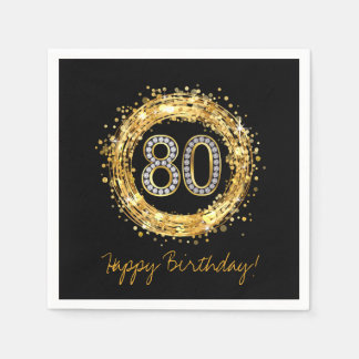 Diamond Number 80 Glitter Bling Confetti   gold Paper Napkin