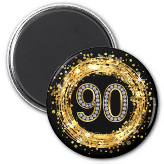 Diamond Number 90 Glitter Bling Confetti | gold 2 Inch Round Magnet