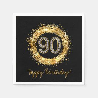 Diamond Number 90 Glitter Bling Confetti   gold Paper Napkin