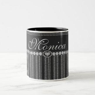 Diamond on Black with Heart Monogram Name Two-Tone Coffee Mug