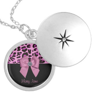 Diamond on Pink Bow Silver Plated Necklace