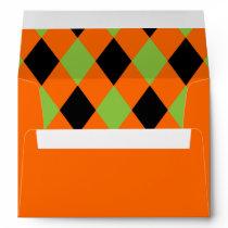 Diamond Pattern Black and Green on Orange Envelope