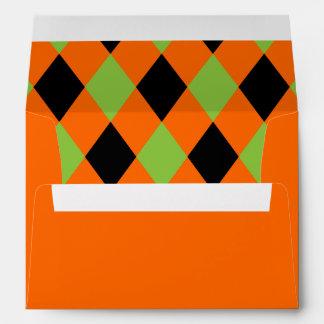 Diamond Pattern Black and Green on Orange Envelopes
