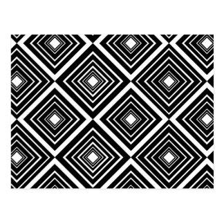 Diamond Pattern Black and White Postcard