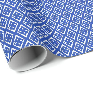 Diamond pattern - cobalt blue and white wrapping paper