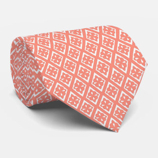 Diamond pattern - coral pink and white tie