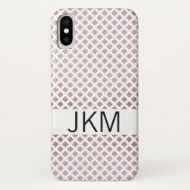 Diamond Pattern Custom Name iPhone X Case