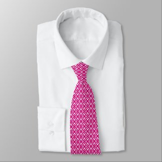 Diamond pattern - fuchsia pink and white neck tie