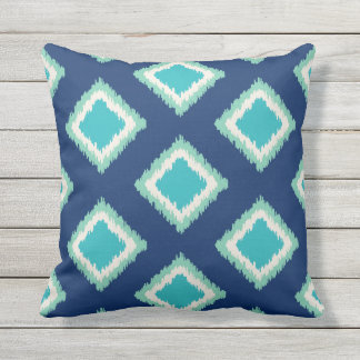 Diamond Pattern   Green and Blue Throw Pillow