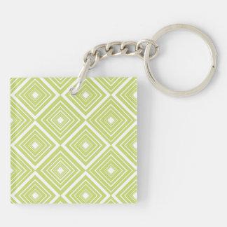 Diamond Pattern Green and White Keychain