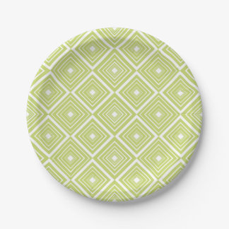 Diamond Pattern Green and White Paper Plate