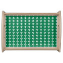 Diamond Pattern Green and White Serving Platter