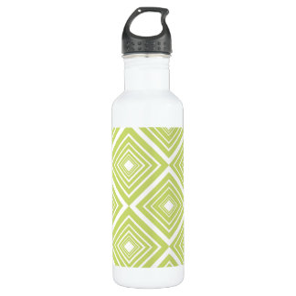 Diamond Pattern Green and White Water Bottle