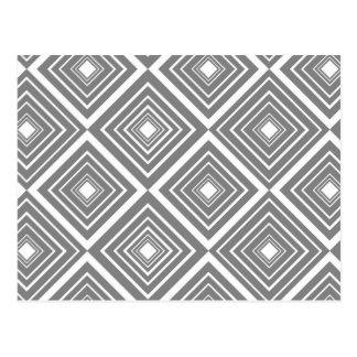 Diamond Pattern Grey and White Postcard