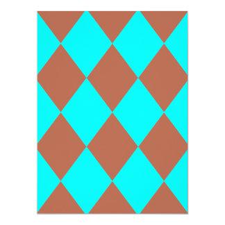 DIAMOND PATTERN in Aqua ~ 6.5x8.75 Paper Invitation Card