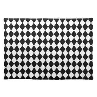 DIAMOND PATTERN in BLACK ~ Cloth Place Mat