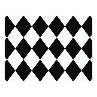 DIAMOND PATTERN in BLACK 6.5x8.75 Paper Invitation Card