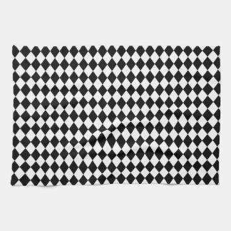 DIAMOND PATTERN in BLACK ~ Hand Towels