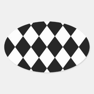 DIAMOND PATTERN in BLACK ~ Oval Sticker