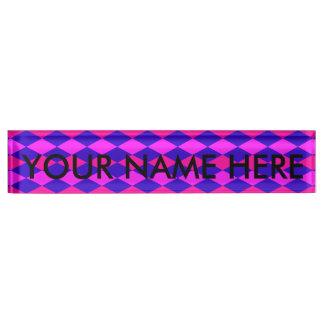 DIAMOND PATTERN in Blue & purples ~ Desk Name Plate