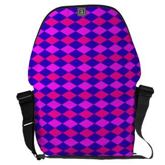 DIAMOND PATTERN in Blue & purples ~ Messenger Bag