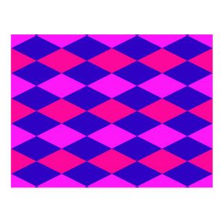 DIAMOND PATTERN in Blue & purples ~ Postcard