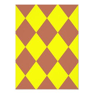 DIAMOND PATTERN in Bright Yellow ~ 6.5x8.75 Paper Invitation Card