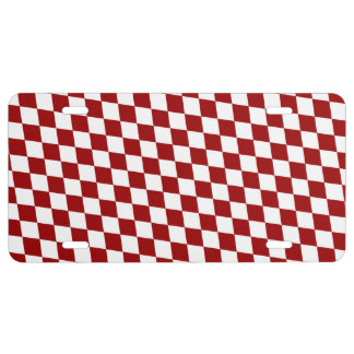 DIAMOND PATTERN in Deep Red License Plate