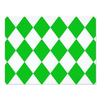 DIAMOND PATTERN in GREEN GREEN ~ 6.5x8.75 Paper Invitation Card