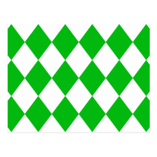 DIAMOND PATTERN in GREEN GREEN ~ Postcard