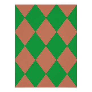 DIAMOND PATTERN in Green ~ 6.5x8.75 Paper Invitation Card