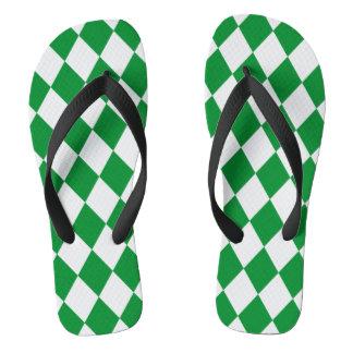 DIAMOND PATTERN in Green.png Flip Flops