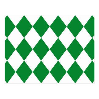 DIAMOND PATTERN in Green ~ Postcard
