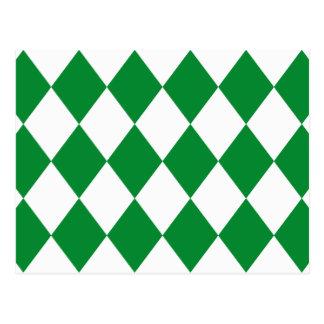 DIAMOND PATTERN in Green Postcard