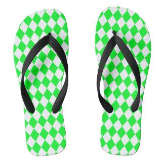DIAMOND PATTERN in Light Green.png Flip Flops